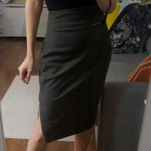 Express High-waist Side Zip Midi Skirt (00, Olive)